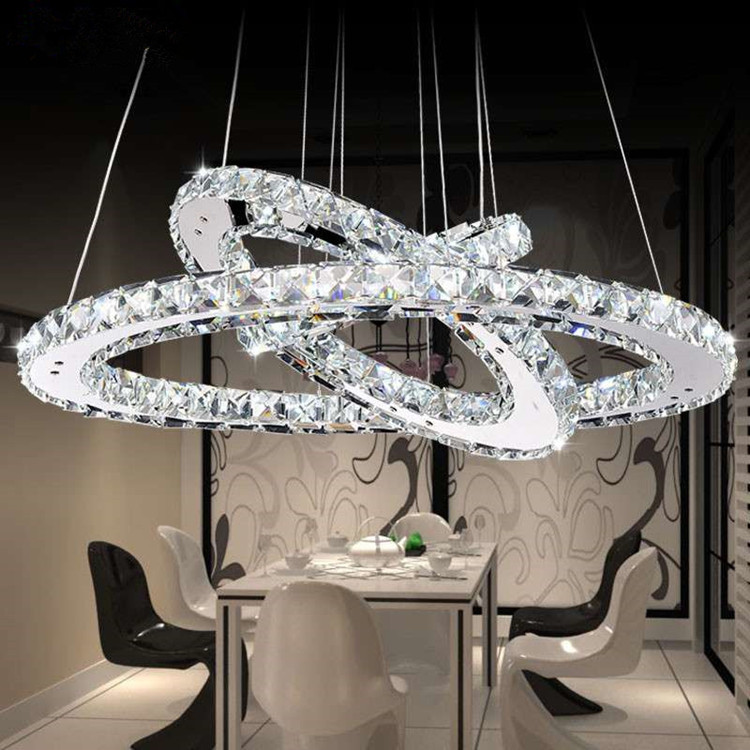 Crystal Chandeliers Lighting Home Lighting Fixtures Ring LED Chandelier Lamp Modern Lights Fixture Hanging Lustres LED Luminaire modern crystal chandeliers home lighting decoration led pendant lamp ring hanging lamps indoor fixtures with remote control