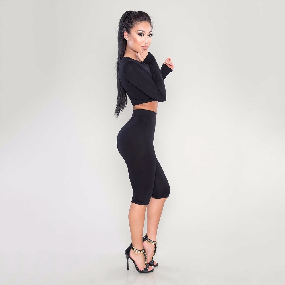 Women suits Two Piece Set Long Sleeve Crop Tops And Legging Sweatpants Stretch Tight Sexy Suits Tracksuit Pants Female Clothes 1