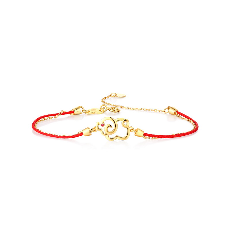JXXGS Jewelry Hot Sale 14K Gold Red String Gold Pig Bracelet Birth Year Pig Bracelet For Women