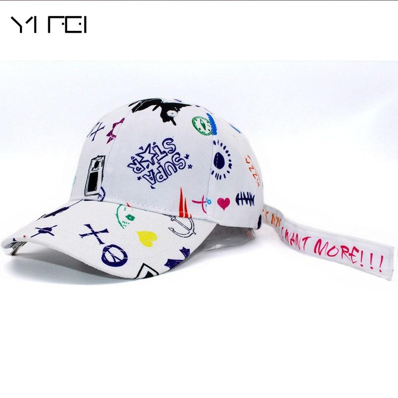 Kpop FASHION Bigbang GDRAGON New Fashion Graffiti Hat Baseball Cap HIP HOP UNISEX Casquette  Gorras Snapback Suede