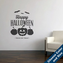 Happy Halloween Pumpkin Bat Art Halloween Horror Inspiration Decorative Vinyl Wall Sticker Holiday Party Sticker Mural  WSJ04