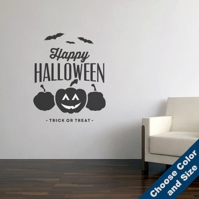 Happy Halloween Pumpkin Bat Art Halloween Horror Inspiration Decorative Vinyl Wall Sticker Holiday Party Sticker Mural  WSJ04