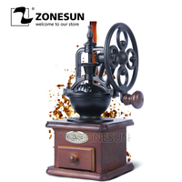 Zonesun ferris wheel design manual do vintage moedor de café com movimento cerâmica retro moinho de café de madeira para decoração de casa|wheels for|grinder mill|grinder coffee -