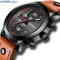 Relogio Masculino CRRJU lujo creativo cuarzo hombres Reloj de cuero cronógrafo ejército militar relojes deportivos Reloj hombres Reloj Hombre