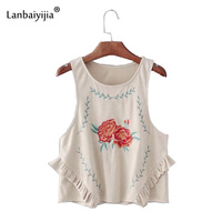 Lanbaiyijia Newest Summer Embroidery Flowers Short Top Women Sleeveless Ruffles O neck Tank Tops Casual women Tops Size S M L