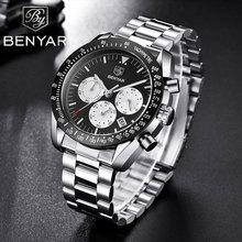 Benyar relógios masculinos marca de luxo relógio à prova dwaterproof água relógios de esportes relógio de pulso do negócio cronógrafo relogio masculino