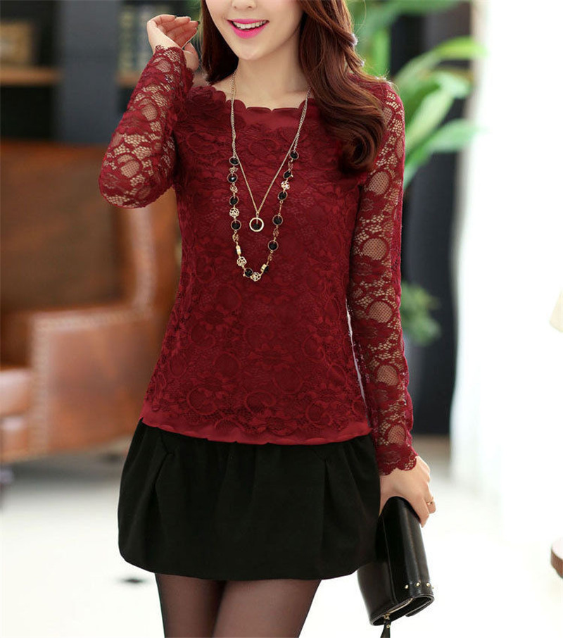 Fashion Women Ladies O-neck Lace Floral Long Sleeve T-shirt Top Asymmetric Bodycon Slim Hollow Out T-shirt Underwear New Clothes