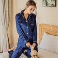 Nuevo Anuncio 2017 Mujeres Ropa de primavera verano larga pijamas ropa de Noche Fija Pijamas sueltos ocio de las mujeres Conjunto De Pijama de Seda