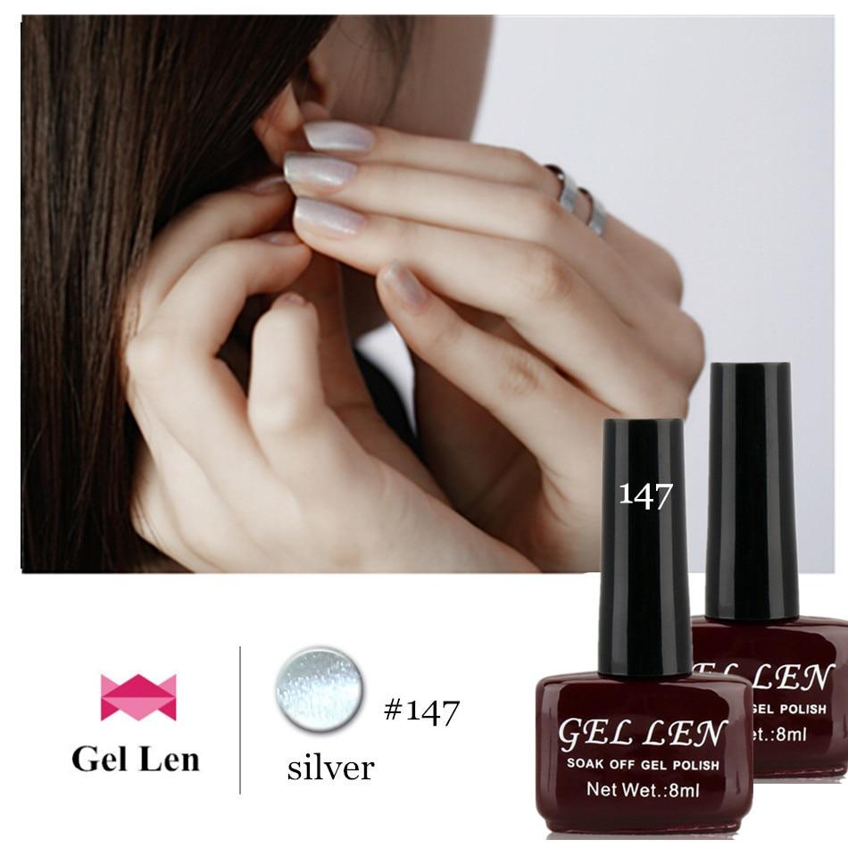 Metallic Silver Nail Polish Brands: 100% Brand New Gel Nail Polish Gel Len Metal Series Silver