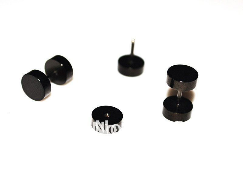 Black Round Earring Stud Barbell Ear Ring Punk Gothic Mens Jewelry 316L stainless Steel Plain 8mm Body Piercing 30pcs/lot