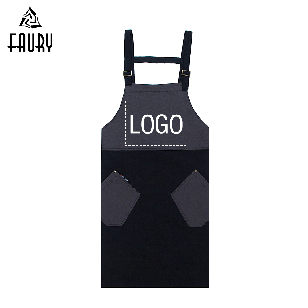 Apron Custom Logo Wholesale Unisex Halter Neck Adjustable LOGO Customize Apron Food Service Kitchen Bakery Chef Waiter Uniform