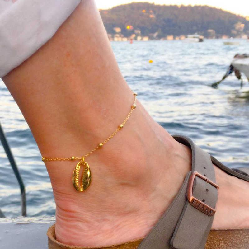 繊細なゴールドまたはシルバー Puka シェルチェーンアンクレット貝殻アンクレットビーズ自由奔放に生きるの宝石