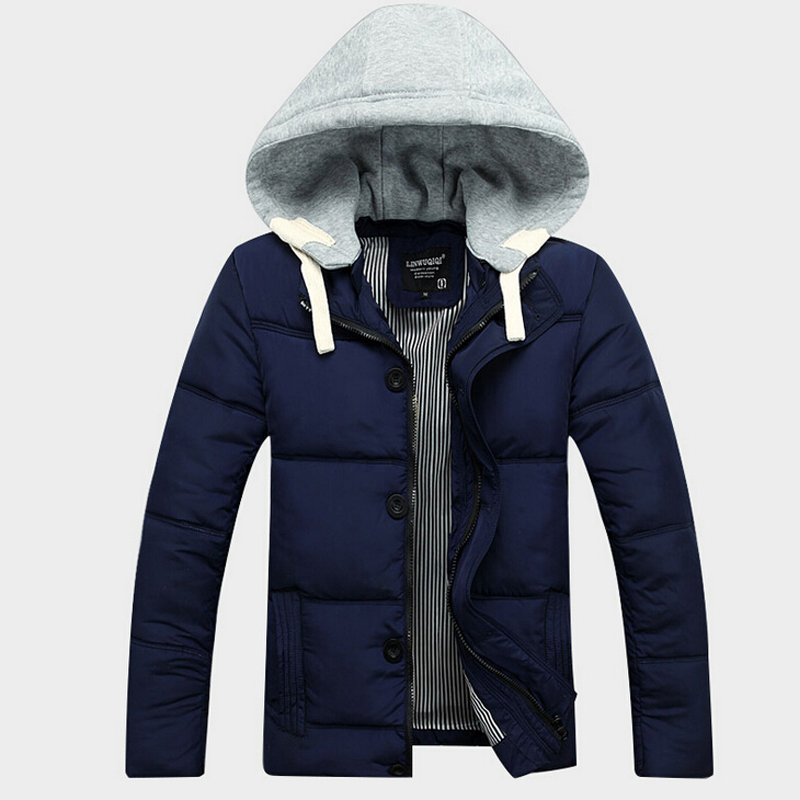 Mens Winter Cotton-padded Clothes Short Wadded Jacket Fashion Hooded Coat Casual Warm Outerwear Slim Jaqueta Men 4 Colors M-3XL