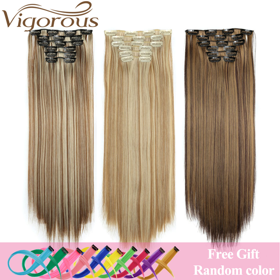 Vigorous <font><b>16</b></font> Clips 6Pcs/Set Silky Straight Synthetic Clip in Hair Extensions for Women False Hairpiece Heat Resistant 22 Inches image