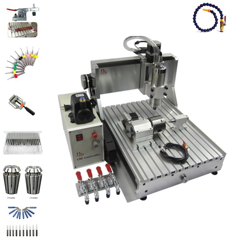 CNC Routeur 6090 en métal Machine De Gravure 4 axe USB Port 2200 w Eau De Refroidissement Sculpture avec livraison cutter