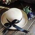Душить маленький острый перец с бантом кромкогибы корейский летом пляж ведро шляпа леди шляпа шляпа солнца летние шляпы для женщин