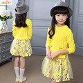 IAiRAY marca grande meninas roupas de uma peça vestido de camisola longa camisola amarela vestido da menina de flor crianças roupas de 12 anos malhas