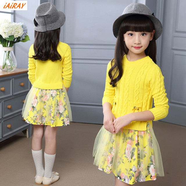 060432d777cc iAiRAY brand big girls clothes one piece long sweater dress yellow ...