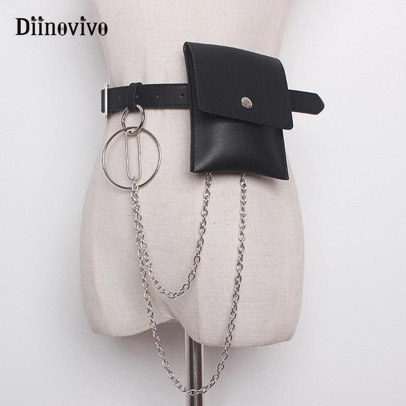 DIINOVIVO Women Waist Bag Leather Female Chain Bags Fashion Fanny Pack Waist Belt Bag Female Hip Bum Pouch Phone Bags WHDV0661