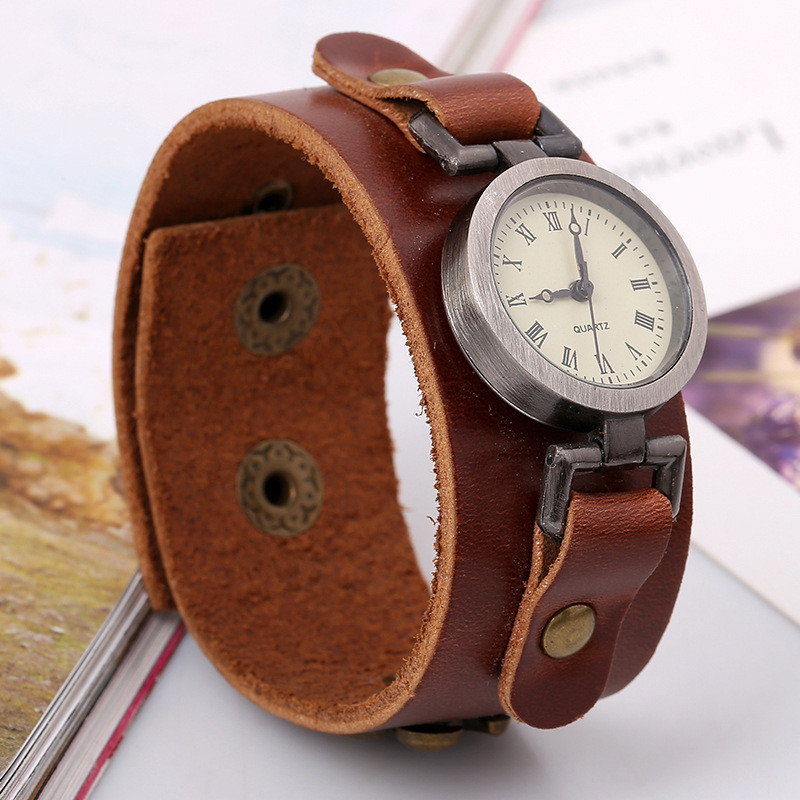 Gnova Platinum Small Dial Unisex Vintage Punk Genuine Leather Bracelet Wristwatch Quartz Watch Hours For Men Women A917 quartz watch with small diamond dots indicate leather watch band hearts pattern dial for women