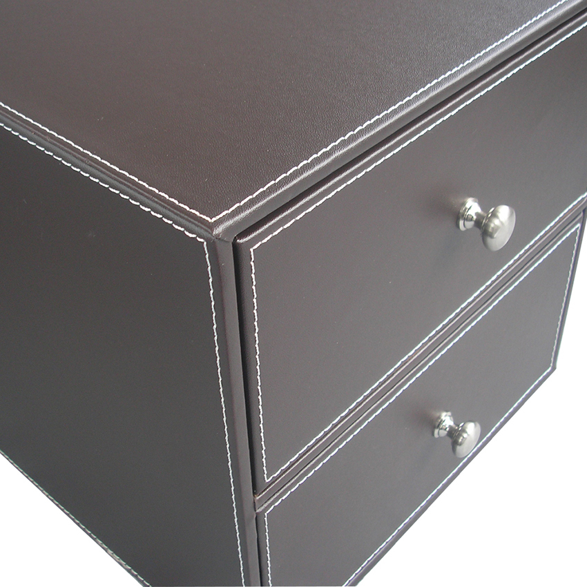 2 Drawers Leather Desk File Cabinet Organizer Holder File Document ...