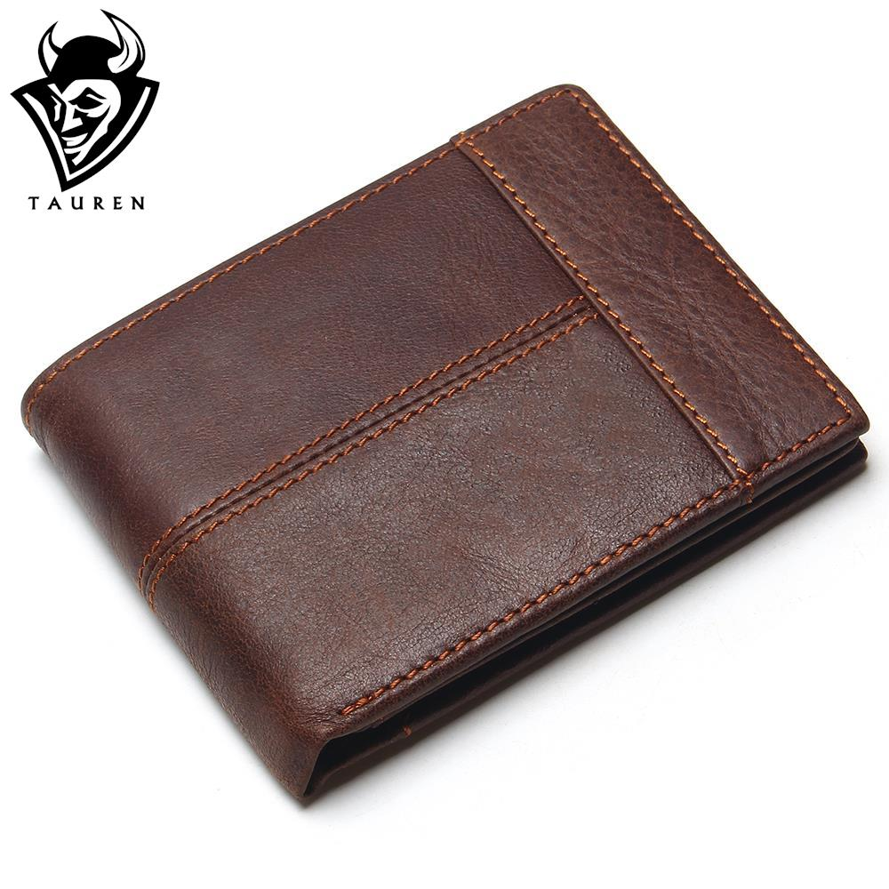 TAUREN Classic Genuine Leather Men Wallets Coin Pocket Zipper Men's Leather Wallet With Coin Purse Portfolio Cartera 247 classic leather