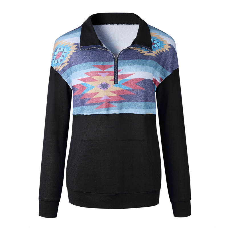 Print Zipper Pockets Sweatshirt Women Autumn Winter 2018 Long Sleeve O Neck  Black Tops Sweatshirt Fashion Slim Pullovers Hoodie-in Hoodies   Sweatshirts  ... 2c9ce7a7983e