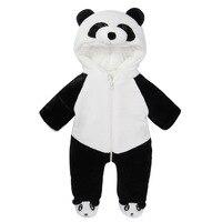 2016 Zima baby boy Romper Kombinezon z kapturem zagęszczony niemowląt panda panda Charakter odzież 12 M 24 M 3 T 4 T dzieci ubrania chłopców