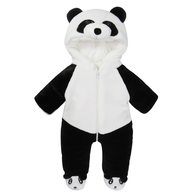 2017 Winter baby boy panda Character Romper Jumpsuit thickened infant hooded panda clothes 12M 24M 3T 4T kids clothes boys children girls flannel camouflage romper leopard boys pajamas kids star romper sleepwear winter jumpsuit clothes infant baby boy