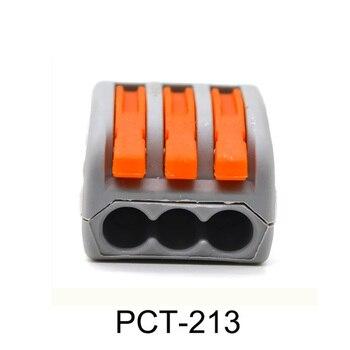 2500 Uds PCT-213 bloque de conectores de cable compacto Universal de 3 pines con palanca