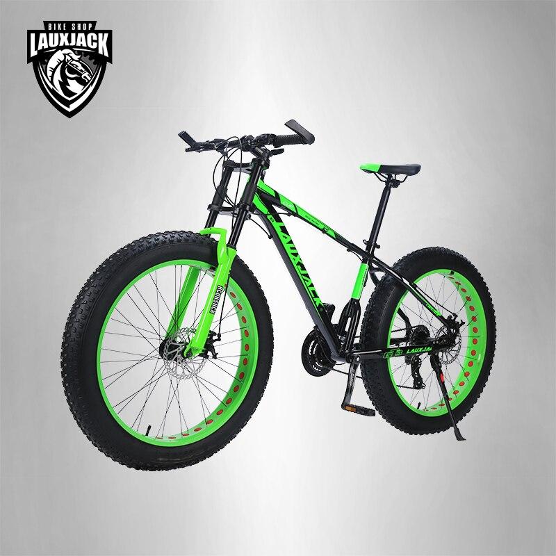 LAUXJACK горный велосипед алюминиевая рама 24 скоростей Shimano механические тормоза 26 x4.0 колеса длинные вилка фэт-байке