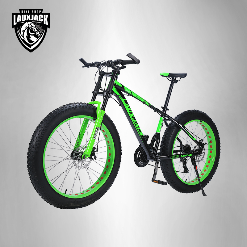 LAUXJACK Mountain bike aluminum frame 24 speed Shimano mechanical brakes 26 x4.0 wheels long fork FatBike