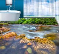 3d flooring custom waterproof wallpaper 3 d Natural green river stone 3d bathroom flooring picture photo wallpaper for walls 3d