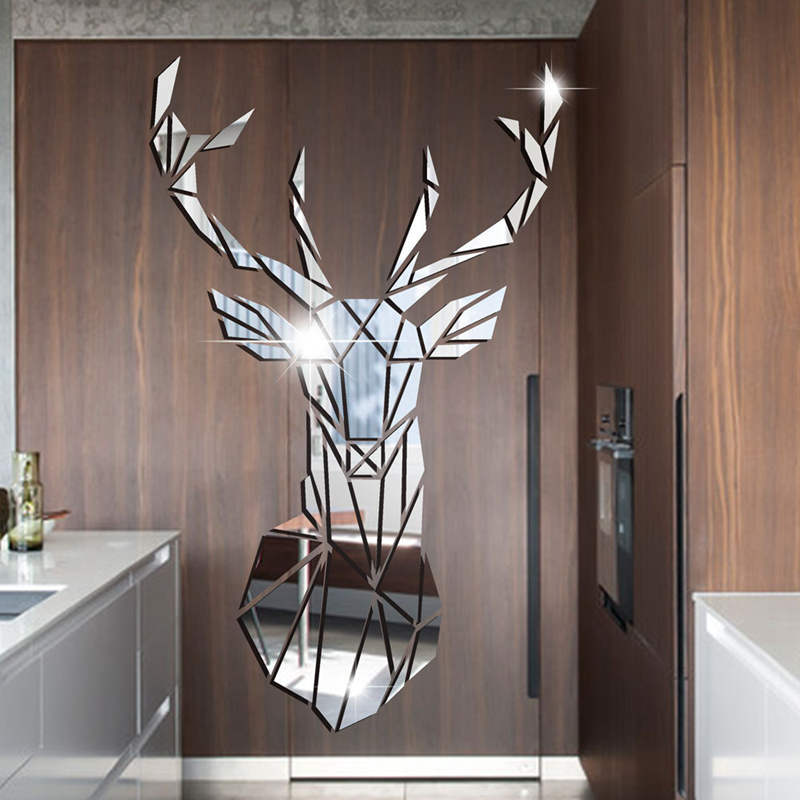 3D Mirror Wall Stickers Acrylic Sticker Big DIY Deer Decorative Mirror Wall Stickers For Kids Room Living Room Home Decor