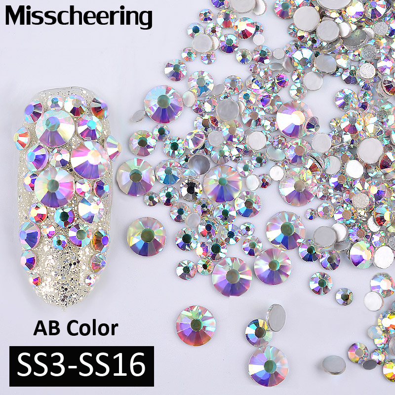 1Pack AB Color Mixed(SS3-SS16) Nail Art Rhinestones Silver Flatback Glass Crystal Gems Non Hotfix Glitter Decorations For Nails glitter flatback crystal resin rhinestones 2 6mm aquamarine ab color new design for nail art decorations stick drill non hotfix