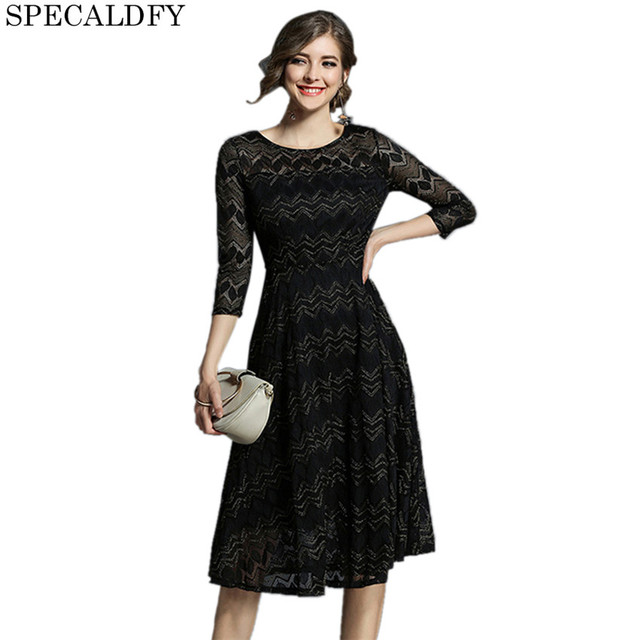 6a9fb72520324 US $23.66 40% OFF|2018 New Fashion Spring Elegant Black White Lace Dress  Women 3/4 Sleeve Sext Evening Party Dresses Tunic Vestidos Robe Femme-in ...
