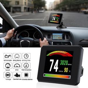 Image 2 - OBDHUD kopf up display Neue Auto Diagnose Werkzeuge OBD2 Auto Reise Auf board Computer Tacho Display Wasser Temperatur RPM