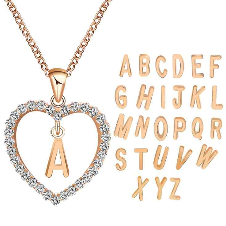 Hot A To Z 26 Letter Name Necklaces & Pendant For Women Girl Fashion Long Chain Heart Necklaces Cubic Zirconia DIY Jewelry Gift