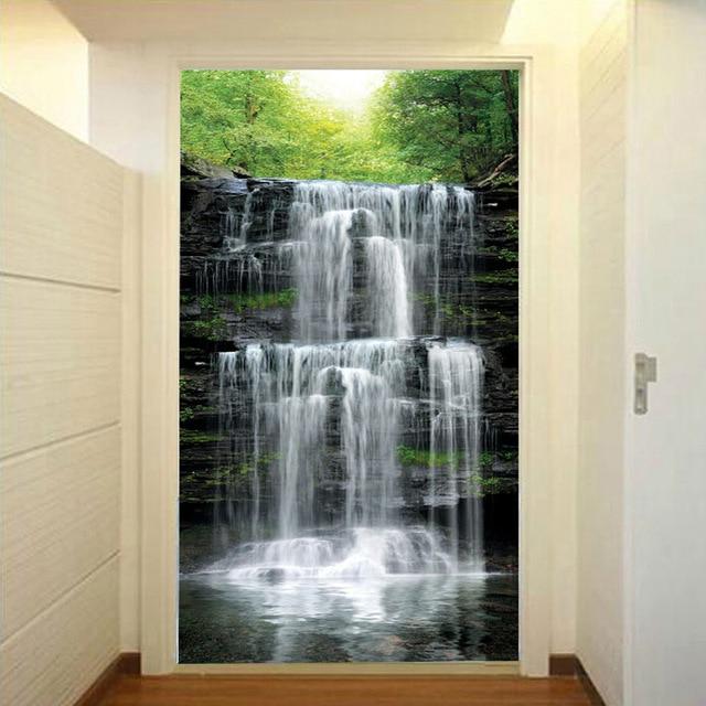 Custom Mural Wallpaper Landscape Natural Waterfalls Wall Mural Straw Non-woven Wall Paper Living Room Entrance Wall Room Decor 2