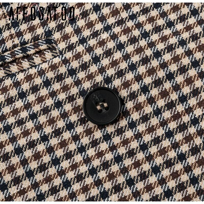 Affogatoo Fashion double breasted plaid blazer women Long sleeve slim OL blazer 18 Casual autumn jacket blazer female 13