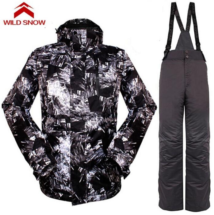 Wild Snow Ski Suit Men Winter Warm Waterproof Ski Jackets and Pants For Skiing Snowboarding Jackets Winter Ski Set Sportswear fitex pro e