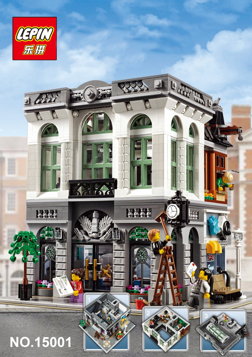 lepin 2413pcs 15001 Clone Creator Brick Bank Building Blocks Toys Modular City Series model Kids Gift Compatible 10251 lepin city creator 3 in 1 beachside vacation building blocks bricks kids model toys for children compatible with lego gift kid