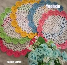 HOT Lace Round cotton table place mat pad Cloth crochet placemat cup mug Christmas tea coffee coaster dining glass doily kitchen