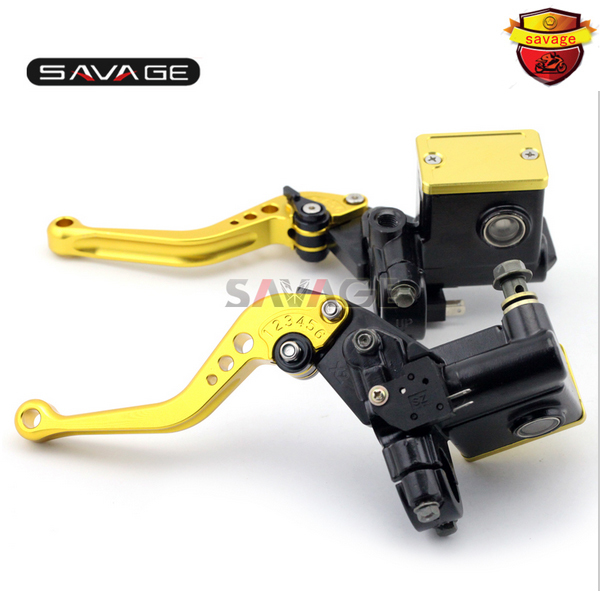 For SUZUKI AN250 Burgman 98-02/ AN400 Burgman 99-11 Motorcycle Front & Rear Brake Master Cylinder Kit Reservoir Set Levers Gold