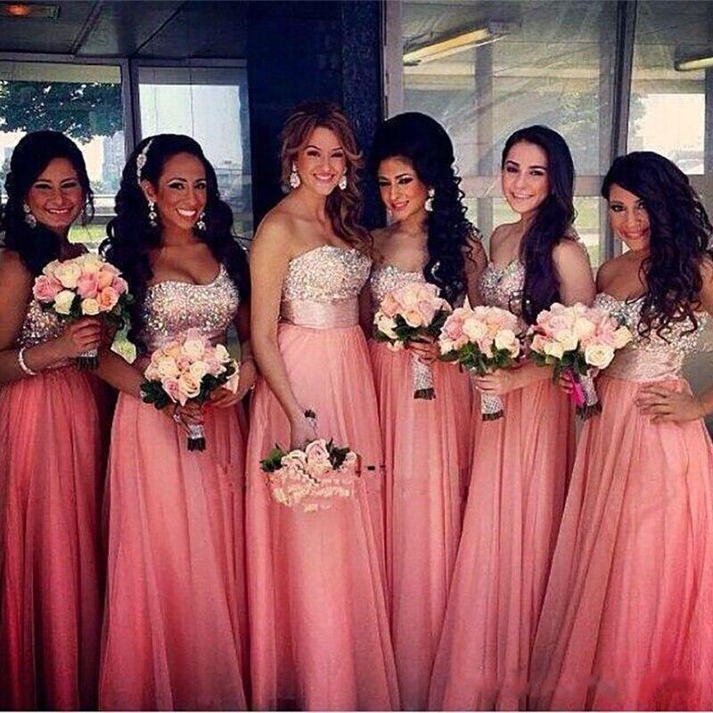 2019 New Long Bridesmaid Dresses Sequins Beaded Tulle Bridesmaids Wedding Party Dress Peach vestidos de damas de honor boda