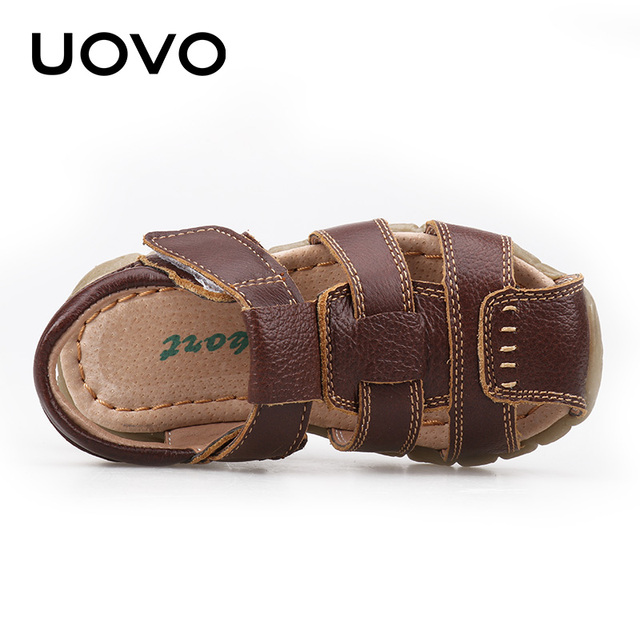 UOVO 2019 Summer Kids Shoes Brand Closed-Toe Toddler Boys Sandals Orthopedic Sport Leather Baby Sandals Boys Beach Shoes 21#-30# 3
