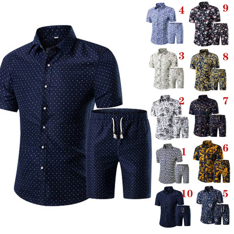 Summer Men Printed T-shirt + Shorts Decorative Pattern Two Piece Sets Plus Size H9