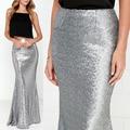 Largo de la falda de cola de pescado 2017 nuevo plata de la manera faldas de lentejuelas atractiva delgada caderas faldas largas faldas para mujer glitter jupe femme vintage