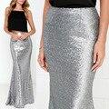 Longo rabo de peixe saia 2017 nova moda prata de lantejoulas saias sexy slim quadris saias faldas largas das mulheres glitter jupe femme vintage