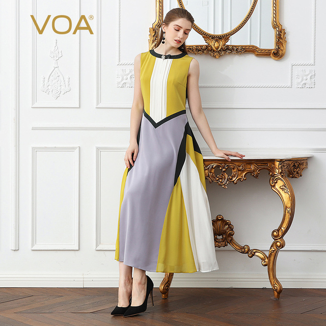 VOA Silk Pearl Clasp Plus Size 5XL Slim Long Party Dress Women Sleeveless Dinner Dress Brief Basic Casual Summer ALX19301